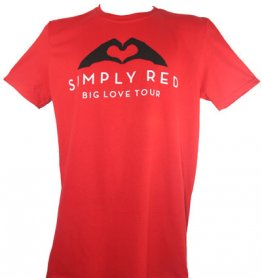 Red Big Love Tour T Shirt With 2015 UK Tour Date Back Print