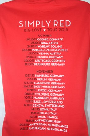 Red Big Love Tour T Shirt With 2015 European Tour Date Back Print