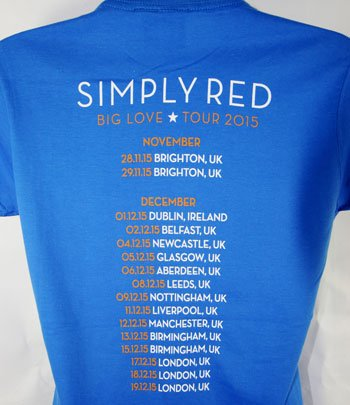 Blue Big Love Tour T Shirt With 2015 UK Tour Date Back Print